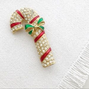 VINTAGE Candy Cane Rhinestone Christmas Brooch